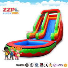 ZZPL backyard cheap inflatable slide with water pool/ inflatable water slide for summer