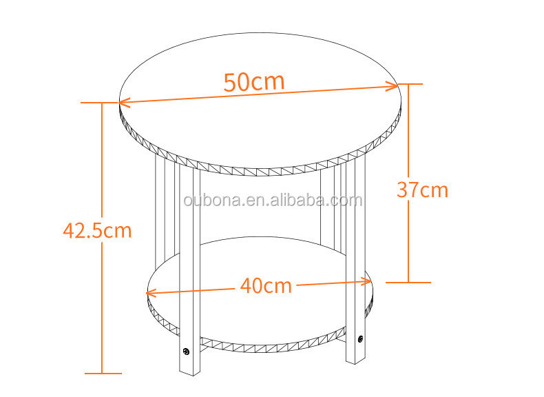 Modern Round Metal Bedside Coffee Table Indoor Outdoor White
