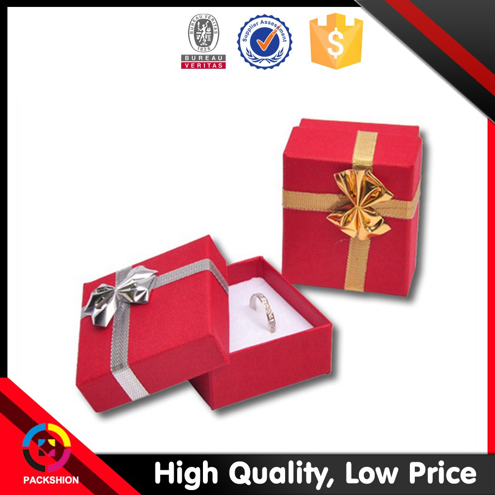 Lovely Red Custom Paper Ring Box with foam insert