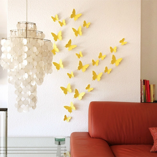 3D Butterfly Wall Stickers / Butterflies Docors / Art / DIY Decorations Paper - Yellow, 12 Butterflies