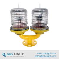 Low Intensity Double Solar Powered LED Aviation Obstruction Lights/Aircraft Warning Lights