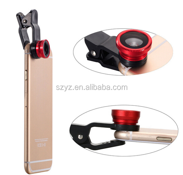 Universal Clip 3 in1 Fish Eye Len Wide Angle Macro Fisheye Lens Mobile Phone Lens for iPhone 6 Samsung S6 HTC All Phones