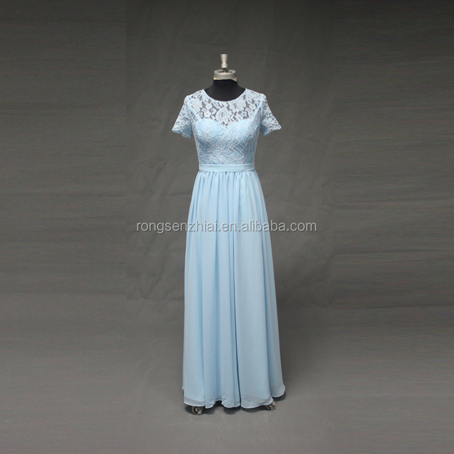 ED Bridal Real Sample Short Sleeves A-line Sky Blue Lace Bridesmaid Dress Chiffon Long