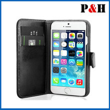 2014 new hot selling iPhone 6 Leather Case, PU Leather Wallet Case for iPhone 5