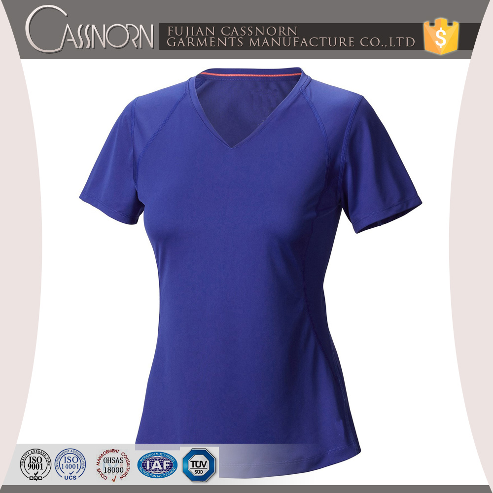 Good Quality Colorful Plain V Neck Wholesale Short Sleeve