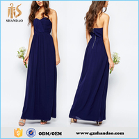 Guangdong shandao summer chiffon strapless plain navy maxi evening dress 2015