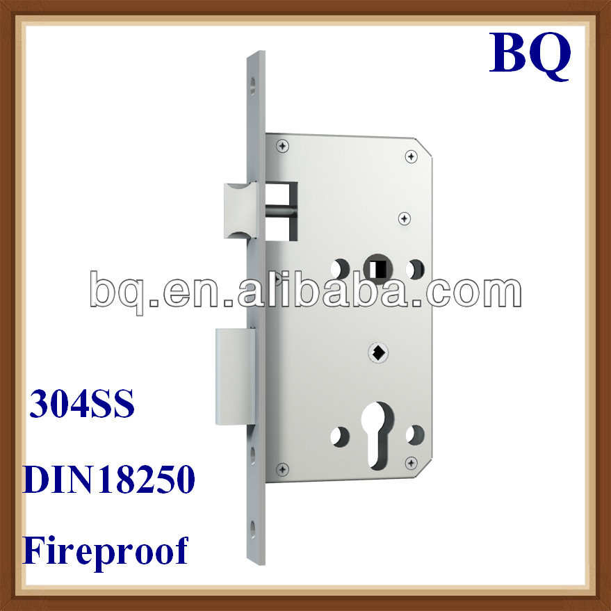 European Standard Fireproof Mortise Lock for Sliding Door with 60 72mm Hole Distance