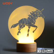 Woody customized OEM animal shape 3d led acrylic night light