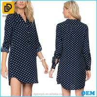 Relaxed fit long sleeves polka-dot print shirt dress with faux front proket