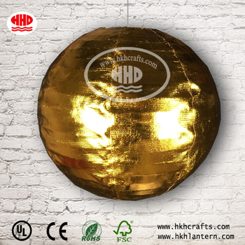 Golden and silver round thickened waterproof nylon lantern/good for outdoor decorative