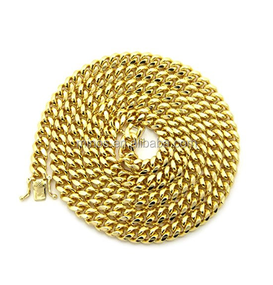 Gold-tone Men's 6mm Miami Cuban Link Chain Necklace With Box Clasp Wholesale 14k Gold Cuban Link Chain