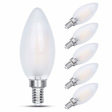 Frosted Glass Cover E14 LED Filament Bulb, 2W/4W/6W Non Dimmable Candle Light, C35 Flame Shape