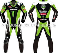 KAWASAKI RACING LEATHER MOTORCYCLE SUIT WITH CE ARMORS/JACKETS/PANTS/ARMORS