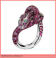 2013 new red gems animal snake rings jewelry high polished