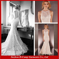 WD-3053 Bare back illusion high neck fit and flare vintage wedding dress lace mermaid wedding dress london