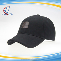 Black Full Cotton Head Cap Baseball Cap With Leather Brand Badge