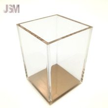 Clear Acrylic Rose Gold Pen Holder Accessory Set Card Holder for Office Stationery