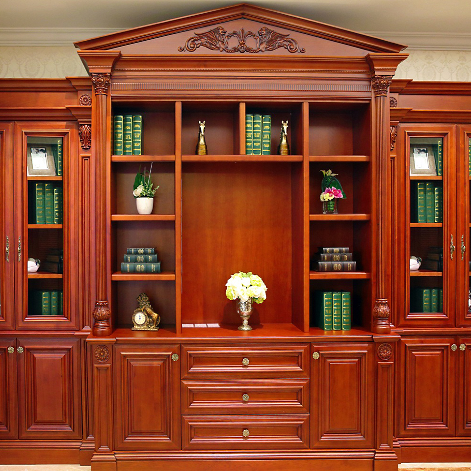 customized wine red solid wood bookcase design for sale