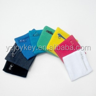 cotton sweatband zipper wallet sports wristband