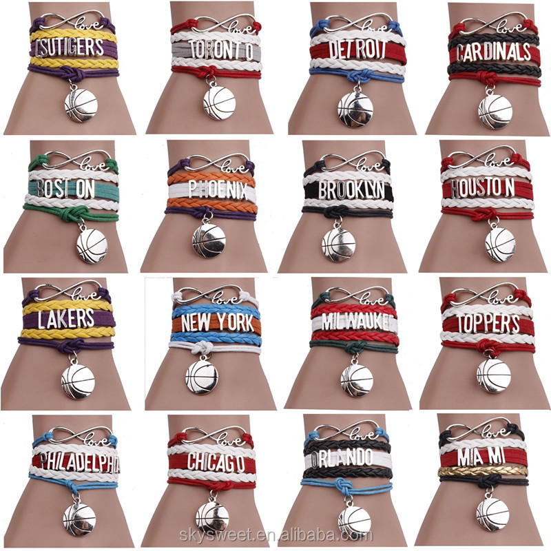EU hot Basketball sports cheap English Letters charm braided bracelet,fashion skysweet cheap jewelry(PR799)