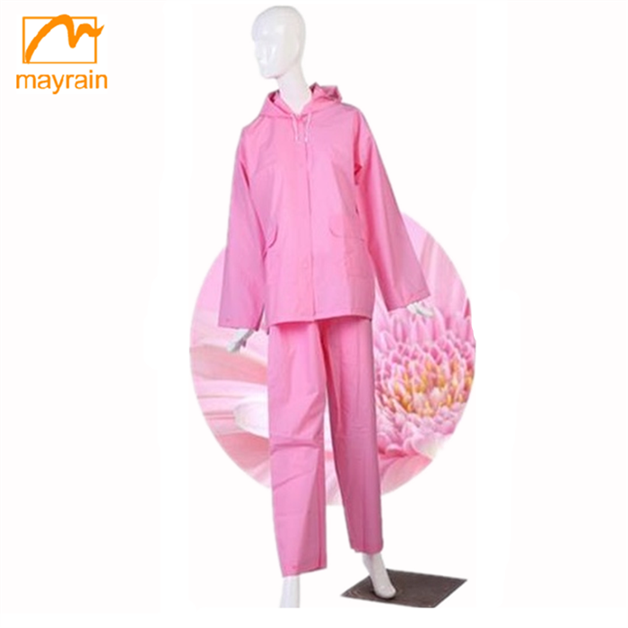 Mayrain waterproof clear plastic rain suit for women