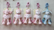Baby carriage hanging plush animal toys, baby gift soft stuffed pink bear