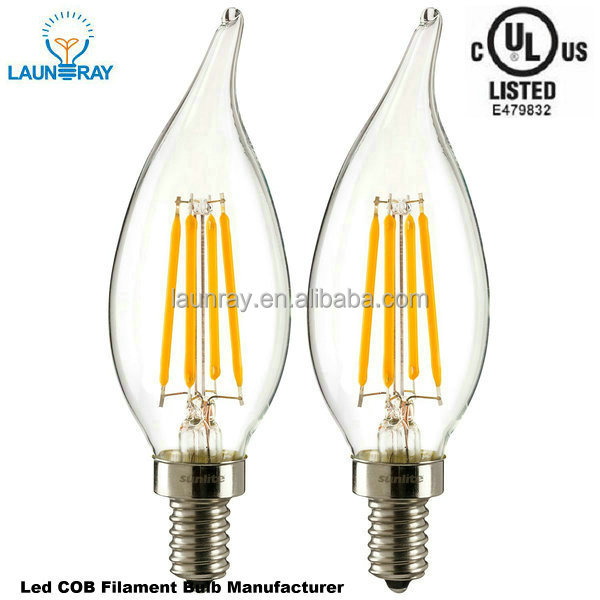 Home Lightings Filament Leds Lamp E12 E14 Base 2W 4W 6W Dimmable LED Candle Light with CE,RoHS,UL
