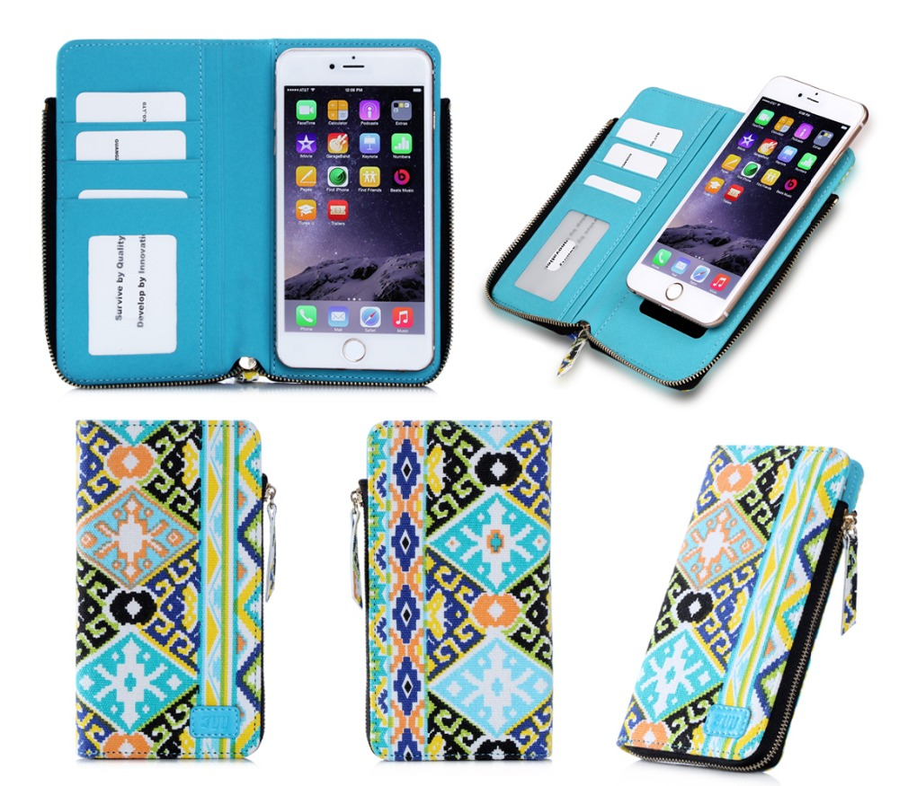 Factory Direct Selling Zipper Wallet Design &Suction Cup PU Leather Phone Case For iPhone 6 Plus