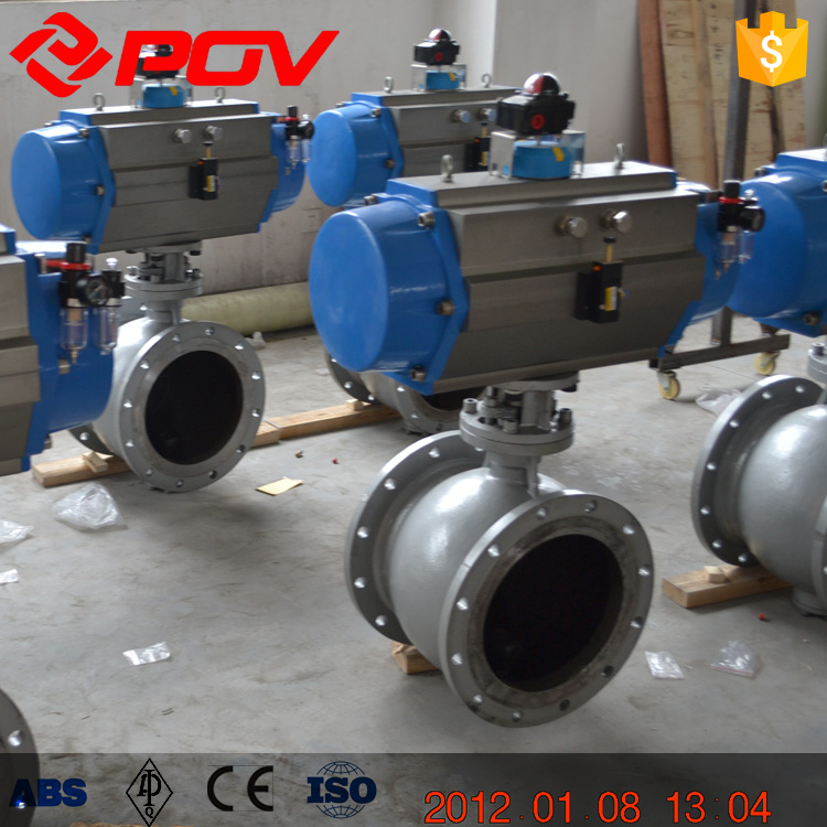 DN50 pneumatic metal seal ball valve double acting