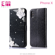 Leather flip phone case for Galaxy S8/S8 Plus diamond flower biling bling glitter smart phone cover