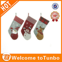 Santa claus, snowman, animal decorations Christmas stocking