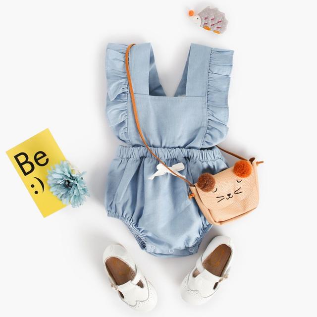 2018 Summer style baby girls denim romper sleeveless newborn baby girls clothing