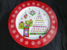 2016 Xmas Melamine Dinner Plate,Large Plastic Round Serving Plate