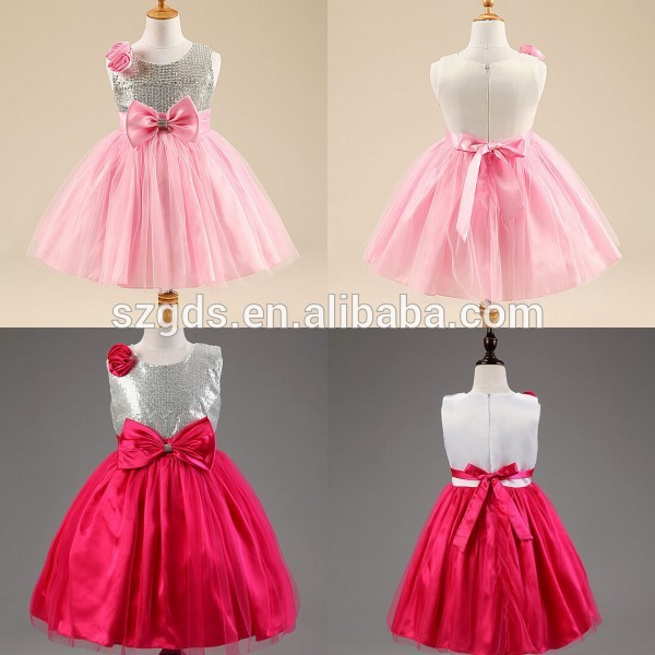 Shinny Red/ Pink baby girl party dress children frocks designs baby ...