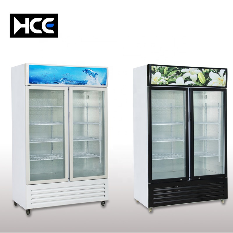 commercial double sided glass door display cool drinks fridge transparent electronic side by side refrigerator supermarket cola