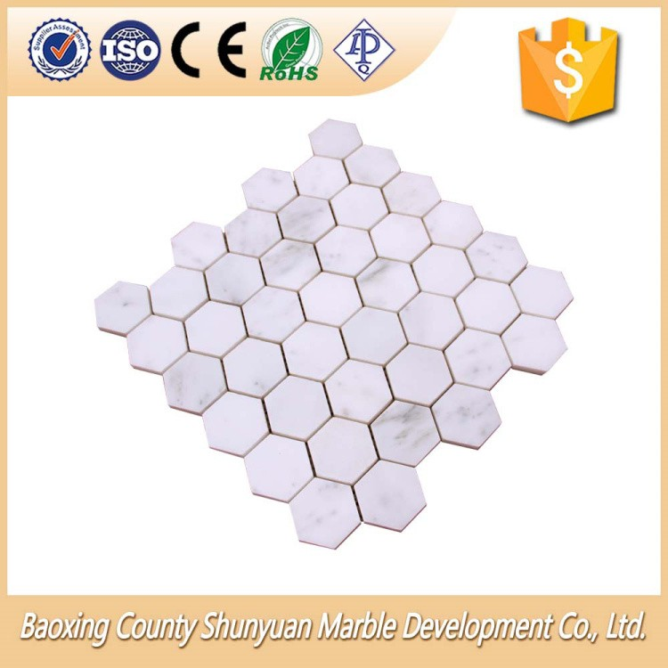 High Quality Polygonal White Marble Mosaic Pattern Tile