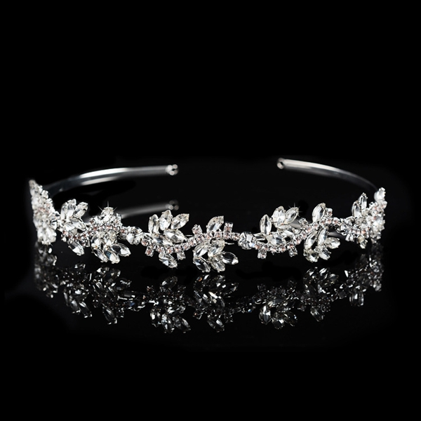 Queena Bridal Jewelry Rhinestone Irregular Leaves Bride Headband