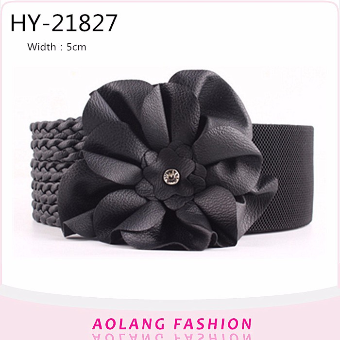 Fashion accessories Women Dress Wide weaving loom belts PU Elastic braided belt
