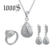 Silver Jewelry Set 925 Bridal Sterling Silver Drop Shape Micro-Pave Setting CZ Jewelry