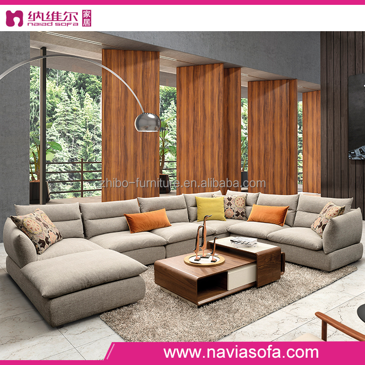 Living room furniture u shaped fabric sectional sofa for U shaped living room