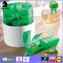 pill case with date letters,Hot Sale medicine box,Plastic 7 Days round Pill Box
