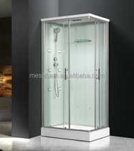 2017 New portable bathroom massage steam shower room cabins with clear and blue glass