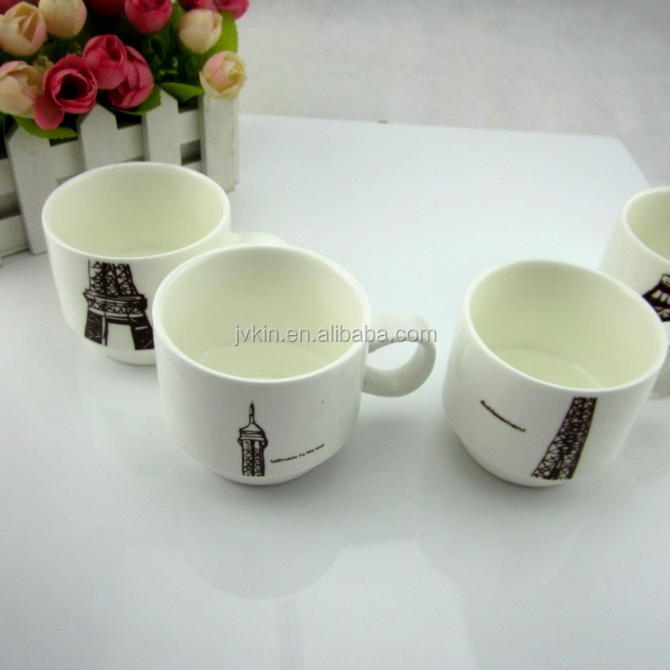 Wholesale Eiffel Tower Coffee Cup Ceramic cups Breakfast milk Cup