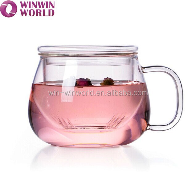 Wholesale Personal Portable Drinking Tea Clear Handle Glass Cup Mug
