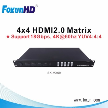 2.0 version HDMI Matrix 4 in 4 out support 4Kx2K @60Hz YUV 4:4:4, HDCP 2.2 in/out, Data rate 18 Gbps