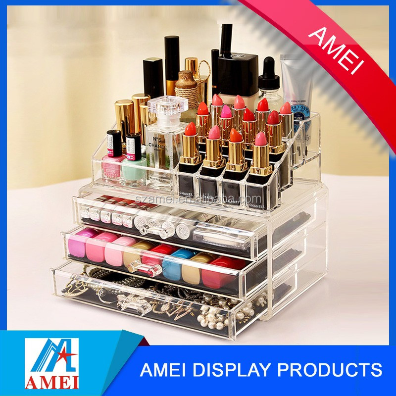 custom POP acrylic desk organizer with tray display from China supplier