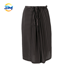 Custom pictures of mature women in short skirts stripe knee skirt loose a line pure silk skirt