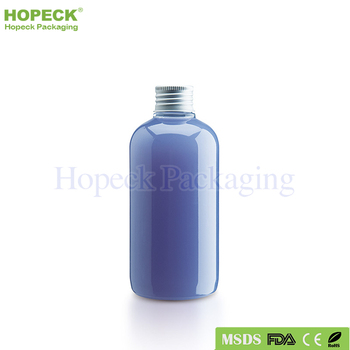 round shape PET plastic bottle for shampoo 250ml with screw cap