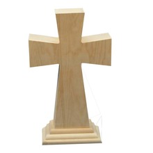 Good sales handmade wooden cross with stand