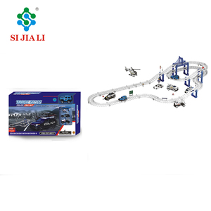 Promotion Police Series Alloy Car Assemble Plastic Track Railway Car Slot Toys